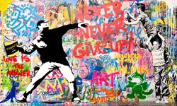 Pop Wall by Mr. Brainwash - Original on Canvas sized 60x36 inches. Available from Whitewall Galleries